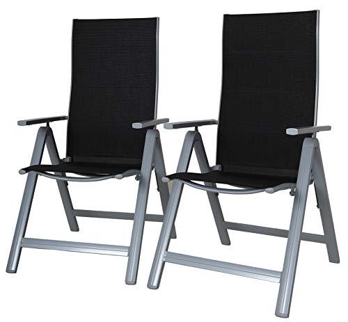 Ambientehome, 2-delig Set klapstoel aluminium tuinstoel 9-voudig verstelbaar Deluxe versie ergonomische zitting & rug campingstoel 50202, grijs/zwart