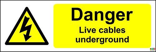 Danger Live Kabel Underground elektrischen Sicherheit Schild–Sticker Selbstklebend 150mm x 50mm