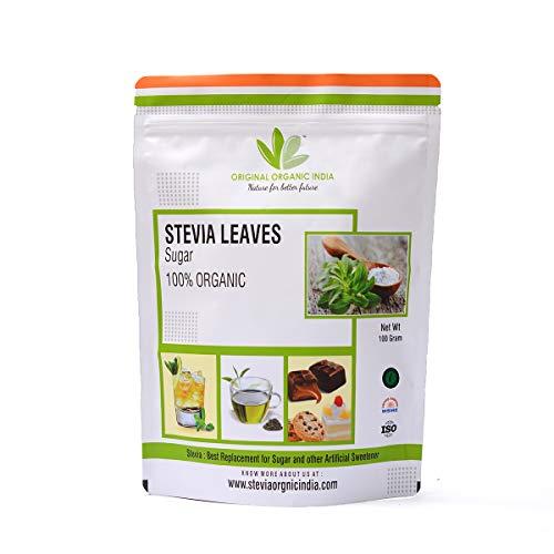 Original Organic India's 100% Organic STEVIA LEAVES Natural Sweetener Zero Calorie Keto for Diabetic Control and Weight Loss Sugarfree