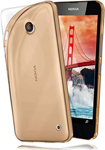 moex Aero Hülle kompatibel mit Nokia Lumia 630/635 - Hülle aus Silikon, komplett transparent, Klarsicht Handy Schutzhülle Ultra dünn, Handyhülle durchsichtig einfarbig, Gold