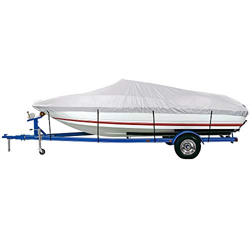 """iCOVER Trailerable Boat Cover Waterproof Heavy Duty Marine Grade Polyester, Fits V-Hull,Fish&Ski,Pro-Style,Fishing Boat,Runabout,Bass Boat, up to 12ft-14ft Long and 68"""" Wide"""