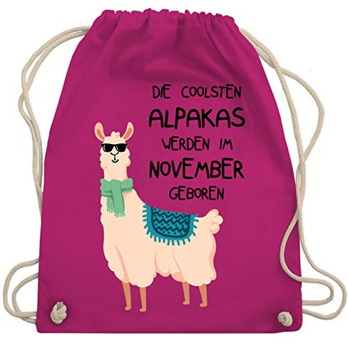 Shirtracer Geburtstag - Die coolsten Alpakas werden im November geboren Sonnenbrille - Unisize - Fuchsia - alpaka adventskalender - WM110 - Turnbeutel und Stoffbeutel aus Baumwolle