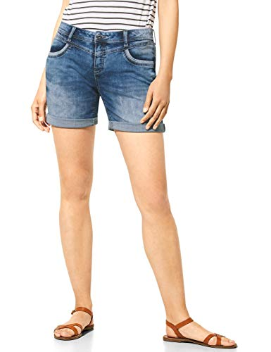STREET ONE Damen Kate Shorts, mid Blue Random Bleached, 30