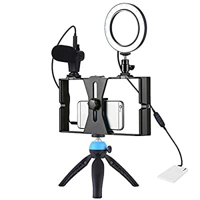 Bjzxz Microphone Stand Dimmable Selfie Ring Filling Lamp Tripod Bracket Stabilizer with Mobile Phone Bracket Suitable for Recording Broadcast
