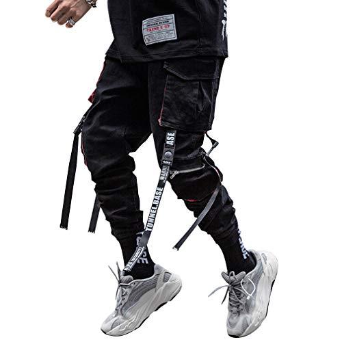 Tasty Life Pantaloni da Jogging da Uomo Harlan Modelli Esplosione Primavera Pantaloni Hip Hop Pantaloni Sportivi Multi-Tasca Neri da Uomo Casual Street (M, Black5)