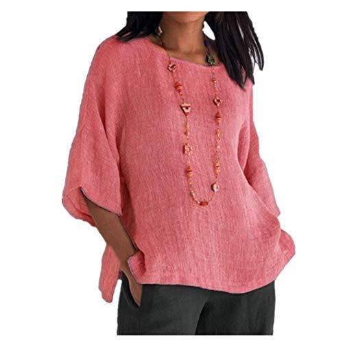 NOBRAND - Camiseta de manga larga para mujer, cuello redondo, de algodón y lino