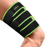 Oberschenkelbandage Herren mit Klettverschluss – Kompression Oberschenkel Bandage Sport, rutschfest und verstellbar, Vorbeugend bei Durchblutungsstörungen & Krämpfen