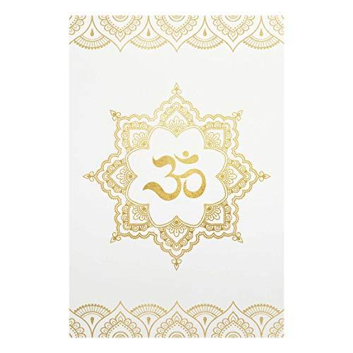 Bilderwelten Cuadro de Cristal - Mandala Om Illustration Ornament White Gold - 30 x 45cm