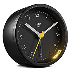 Braun Classic Analogue Alarm Clock with Snooze and Light, Quiet Quartz Movement, Crescendo Beep Alarm in Black, Model BC12B.