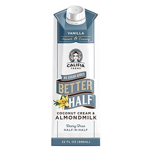 Califia Farms - Vanilla Better Half Coffee Creamer, 32 Oz (Pack of 6) | Half and Half | Coconut Cream and Almond Milk | Non Dairy | Plant Based | Vegan | Keto| Sugar Free | Zero Carb | Shelf Stable
