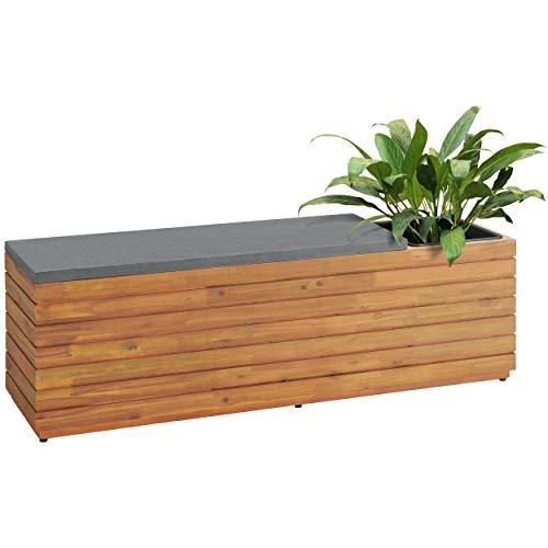 Euromate GmbH Pflanzbank Eldorendo aus Holz Braun | Rechteckige Sitzbank mit herausnehmbarer Einsatz aus Kunststoff zum Bepflanzen