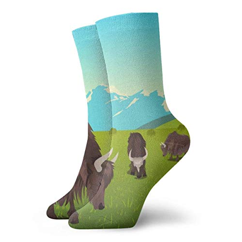 REordernow Kurze Socken Yak Grazing Scene Adult Short Socks Cotton Cool Socks for Mens Womens Yoga Hiking Cycling Running Soccer Sports