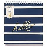 Busy B Schreibtischkalender von Januar bis Dezember 2021 - Marinestreifen-Schreibtischplaner mit Aufbewahrungsfächern und integriertem Ständer. Perfekt für Büro- und Schreibtischorganisation