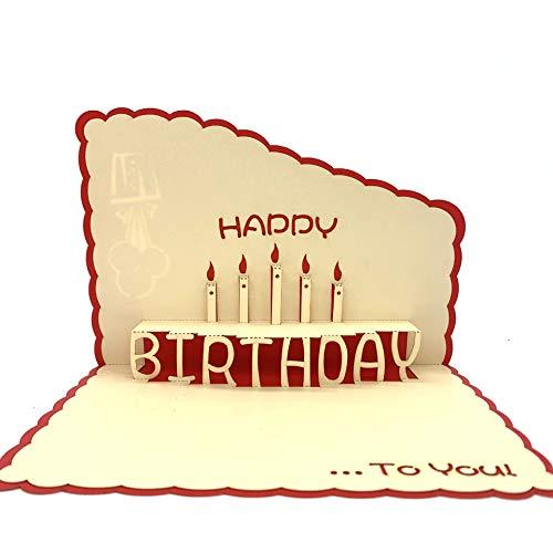 Biglietto di compleanno 3D, con design in confezione regalo, biglietto di auguri con candela speciale per compleanno, regalo