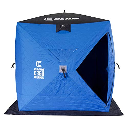 Clam 14475 C-360 2-3 Person Lightweight Portable Pop Up Ice Fishing Angler Thermal Hub Shelter Tent with Anchors, Tie Ropes, and Carrying Bag