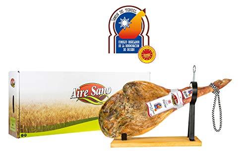 Jamón de Teruel D.O.P. Gran Premier de Aire Sano (7,5-9,5Kg) + jamonero + cuchillo + chaira + estuche