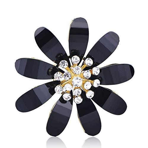 XZROOKEI Exquisito Broche con Forma de Flor Alfileres de Cobre Mujeres Niñas Cárdigans Vestido Kimonos Decoración Joyas Negro