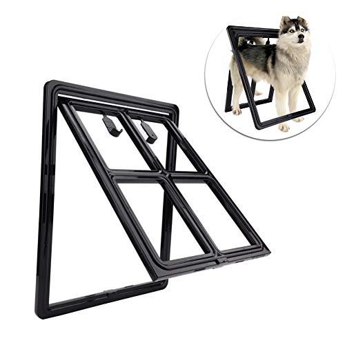 Smandy Haustierklappe Kunststoff Rahmen Hund Katze Tür Katzenklappe Hundeklappe Magnetische Verriegelung Sichere Klappe, einfache Installation, für Bildschirm Tür Tor und Fenster(Large schwarz)