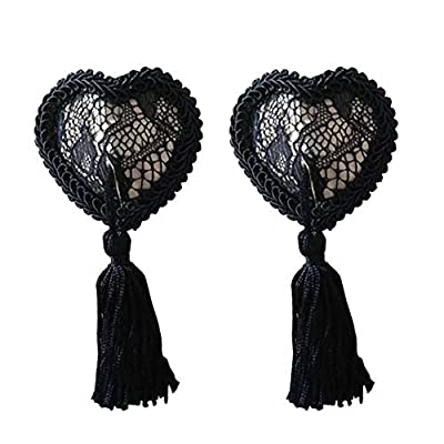Reusable Flower Silicone Pasties Bra Sexy Breast Petals with Tassel (mesh black-tassel)