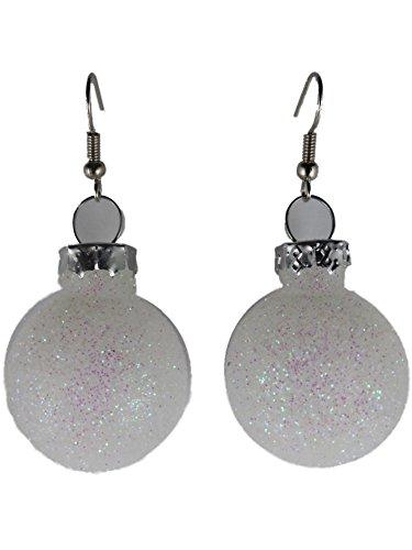 Weihnachtschmuck Ohrringe Weihnachten Schmuck Hänger Christbaumkugel Weihnachtskugel Glas weiß Glitzer Glitter K284