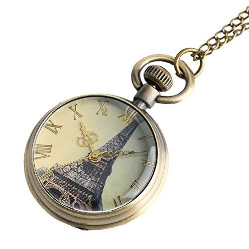 WLGQ Reloj de Bolsillo Vintage Reloj de Bolsillo Collar Torre Eiffel Patrón Steampunk Colgante para niños Hombres Niños Mujeres Retro Punk