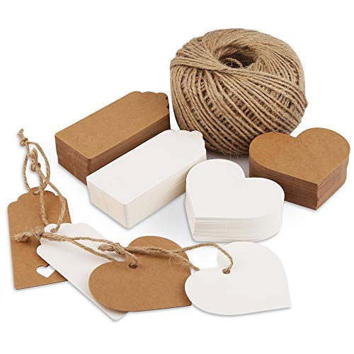 Pack of 200 Gift Tags Kraft Paper Labels, Vegena Gift Tags Paper Tags Hanging Labels with Heart and Jute String 100M Luggage Tags Price Label for Wedding DIY Decoration