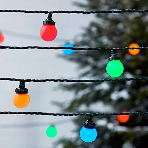 Lights4fun Guirlande Guinguette Extérieure Raccordable avec 40 Globes LED Multicolores sur Câble Vert Foncé, Série Pro