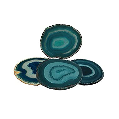 Agate Coaster Teal 3-3.5  Dyed Sliced Agate Drinks Cup Mat Set of 4 Small with Rubber Bumpers, By Amoystone