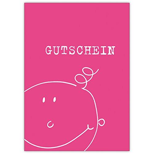 In 5-delige set: kleine kinder/baby cadeaubon met brutdak, roze • mooie welkomstkaart, wenskaart, geboortekaart voor moeder en kind, individuele babykaart voor medewerkers, familie, vrienden en collega's