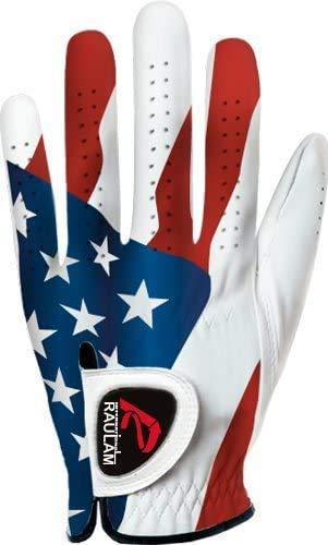 RAULAM INTERNATIONAL USA Flag Golf Gloves Perfect Grip for Men and Women (Women's Medium, Left)