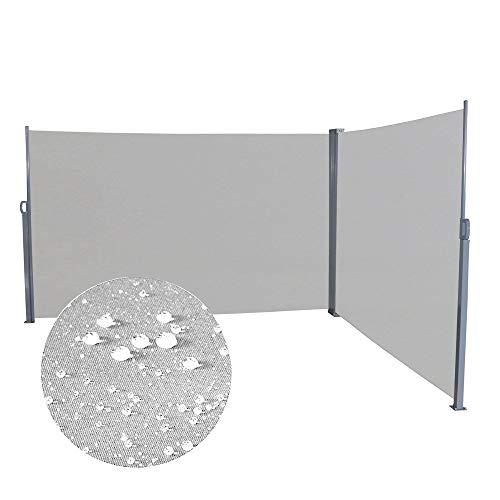 Aufun Seitenmarkise Ausziehbar 200 x 600 cm Doppel Sonnenschutz aus Polyester Sichtschutz Windschutz Markise für Balkon Terrasse Garten Camping, Grau