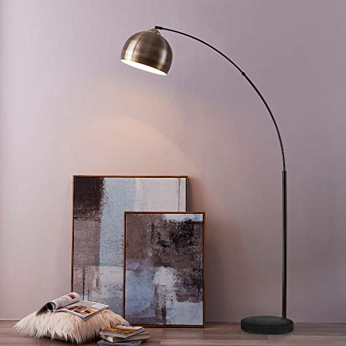 Versanora - Arquer Arc Floor Lamp With Marble Base, Antique Brass Finished Shade