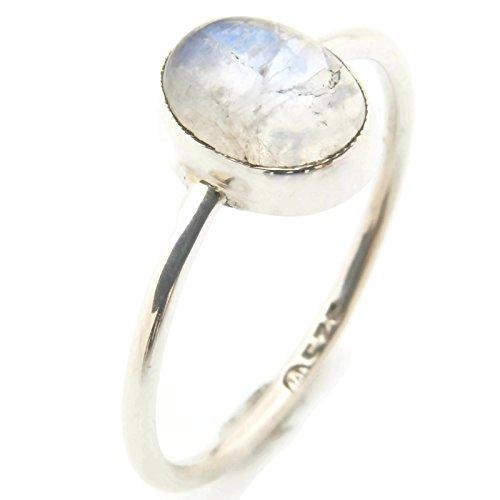 Ring Silber 925 Sterlingsilber Regenbogen Mondstein weiß Stein (Nr: MRI 100), Ringgröße:56