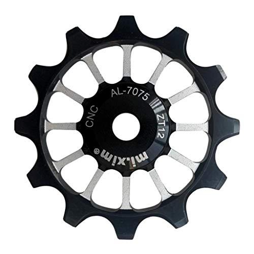 Bicicleta Polea de Cambio 12T Cerámica de Aluminio Jockey Rueda Trasera Ajustar 7-11 Velocidad, 4 Colores - Negro
