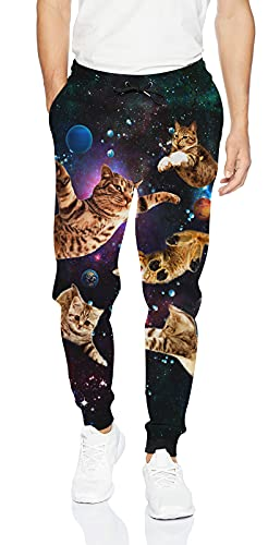 uideazone Cat Sweatpants for Womens Mens Funny Graphic Space Jogger Pants Comfy Baggy Trouser with Drawstring Pockets