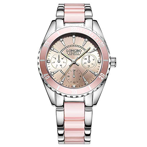 LONGBO Damen Uhr Keramik Und Legierung Band Analoge Armbanduhr Exquisite Quarz Uhren