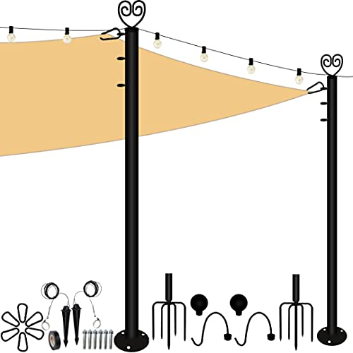 9.7Ft Sun Shade Sail Pole Kit, Outdoor String Light Pole Post Awning Canopy Support Shade Sail,Heavy Duty Steel Post for Outside String Light Deck Patio Backyard Wedding