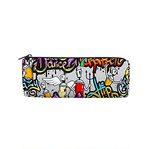 Hip Hop Pop Art - Estuche para lápices con cremallera para niños, niñas, estudiantes, escuela, con bolsa de maquillaje redonda