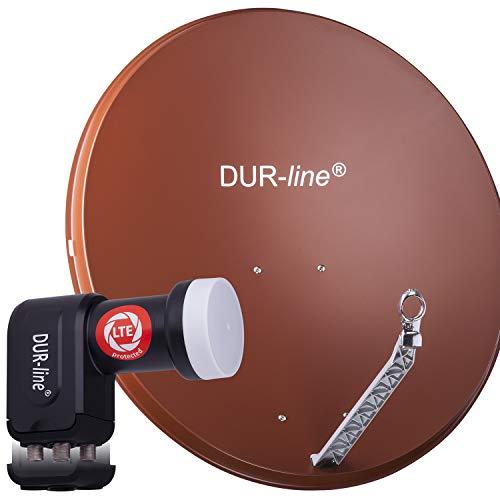 DUR-line 4 Teilnehmer Set - Qualitäts-Alu-Satelliten-Komplettanlage - Select 85cm/90cm Spiegel/Schüssel Rot + Quad LNB - für 4 Receiver/TV [Neuste Technik, DVB-S2, 4K, 3D]