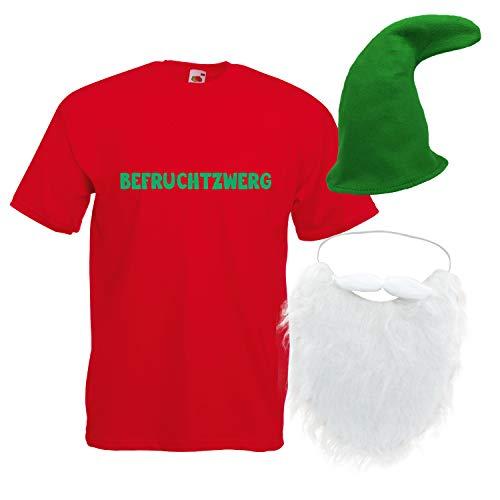 Shirt-Panda Herren T-Shirt · Befruchtzwerg mit Mütze und Bart Karneval Gruppen Zwerg Kostüm Fasching Verkleidung Party Gnom Darts Unisex Hut Kostüme · Rot (Druck Grün) Mütze & Bart M