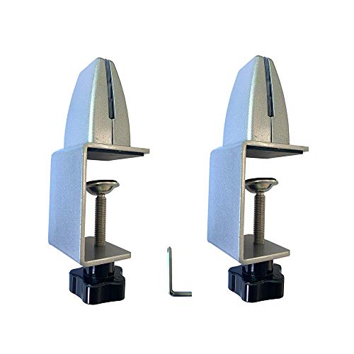 Sneeze Guard C-Clamp Support - Aluminum Adjustable Mount Desk Partition Clamp - C-Clamp for Table Panel Separator, Desktop Mount Holder Stand (2 Pack)