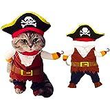 yuesen pet costume pirata abbigliamentor cane gatto pirata vestiti con cappello pirata divertente carino pet pirata vestito abbigliamento per piccoli e medi cani gatti(m)
