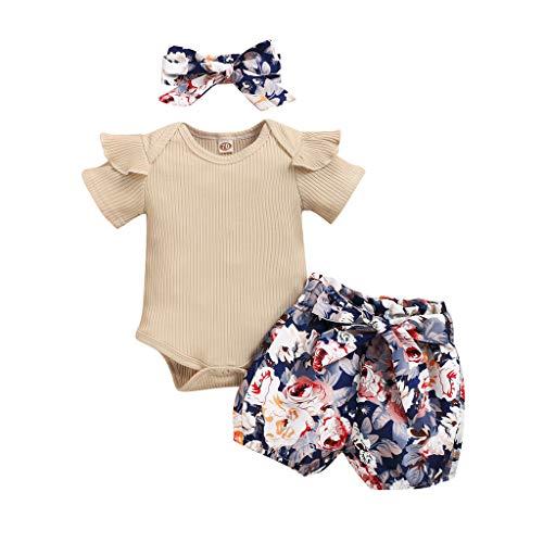 Soolike Conjunto de 3 Piezas Ropa Bebe Niña Verano Recién Nacido 0 a 24 Meses Monos con Volantes + Florales Pantalones Cortos +Venda