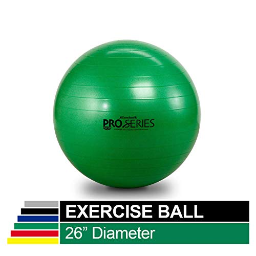 TheraBand Exercise Ball, Professional Series Stability Ball with 65 cm Diameter for Athletes 5'7' to 6'1' Tall, Slow Deflate Fitness Ball for Improved Posture, Balance, Yoga, Pilates, Core, Green