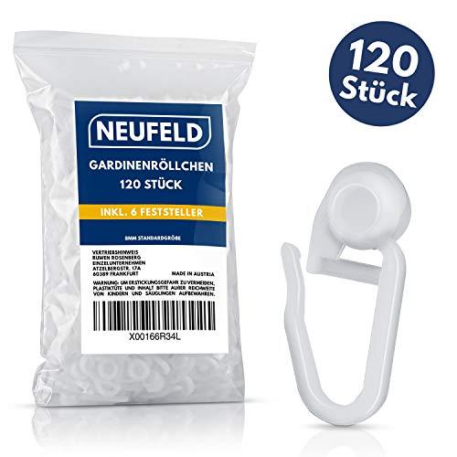 NEUFELD® 120 Gardinenröllchen für Innenlauf Schienen (inkl. 6 Feststeller) I Waschfeste Vorhangrollen I Gardinenhaken Gleiter [8mm Standardgröße] (120)