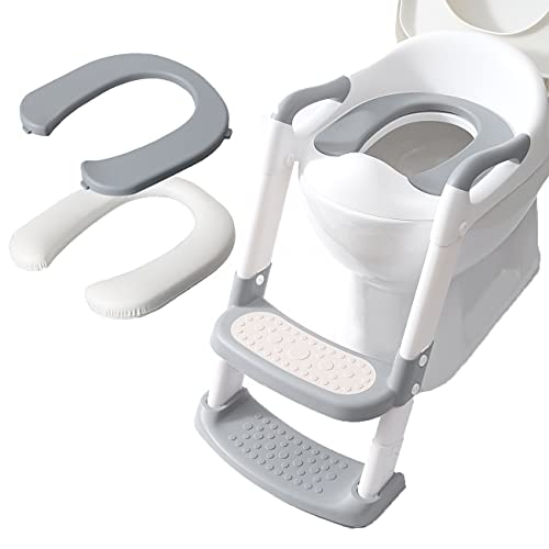 Toddler Potty Training Seat with Step Stool Ladder, Upgraded Non-Slip Toddler Potty Seat for Toilet with 2 Comfortable Cushions,Foldable Adjustable Potty Training Seat for Kid/Boy/Girl by Double Elite