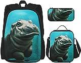 Lindo bebé hipopótamo mochila conjunto de bolsas con almuerzo bolsa bolsa lápiz estuche viaje