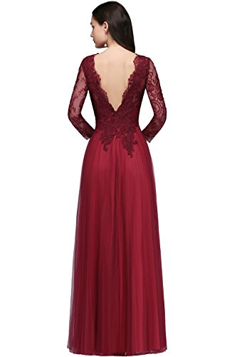 MisShow Damen elegant V Ausschnitt Tüll Abendkleid Abiballkleid Brautmutterkleider Spitzen...