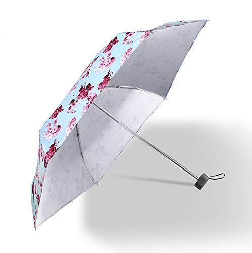 Taschenschirm Klappbar 6-Rippen Leichtgewicht Wasserdicht Robust, Regen Und Sonnenschirm, UPF>50+ Schutz