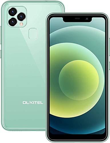 Telefonos Moviles Libres Baratos OUKITEL C22, Android 10 Dual Sim 4GB+128GB (SD 256GB),5.9' HD,13MP Rear+8MP Frontal Camera, 4000 mAh Batería 10W Carga Rapida Face ID/GPS Smartphone Oferta Verde Claro